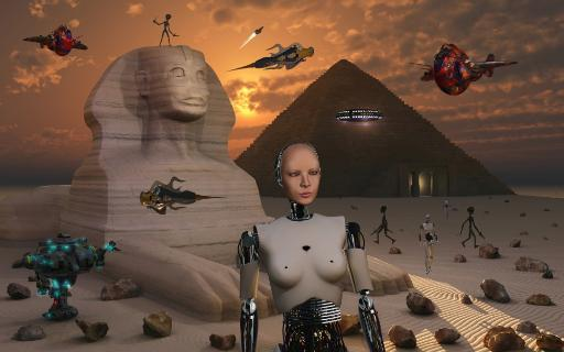 Artist's concept of the pyramids and sphinx being built by an advanced alien race who used robots and other machines to aid in their construction.