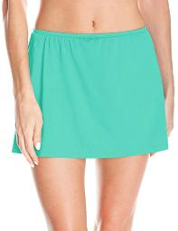 24th & Ocean Women's Solid Skirted Hipster, Sea Green//Solid, Size X-Large