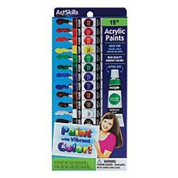 Artskills(R) Acrylic Paints, 0.32 Oz, Assorted Colors, Pack of 12
