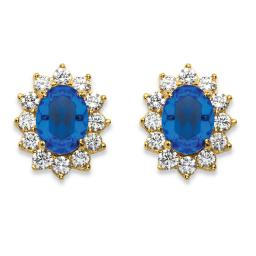 1.14 TCW Simulated Blue Sapphire and CZ Halo Stud Earrings MADE WITH SWAROVSKI ELEMENTS 14k Gold-Plated