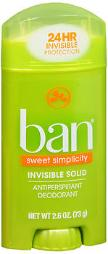 Ban Antiperspirant Deodorant Invisible Solid Sweet Simplicity - 2.6 Oz, Pack Of 4