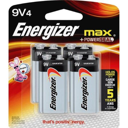 Eveready Battery EVE522BP4CT 9V Energizer Max Alkaline Battery, Black with Aluminum