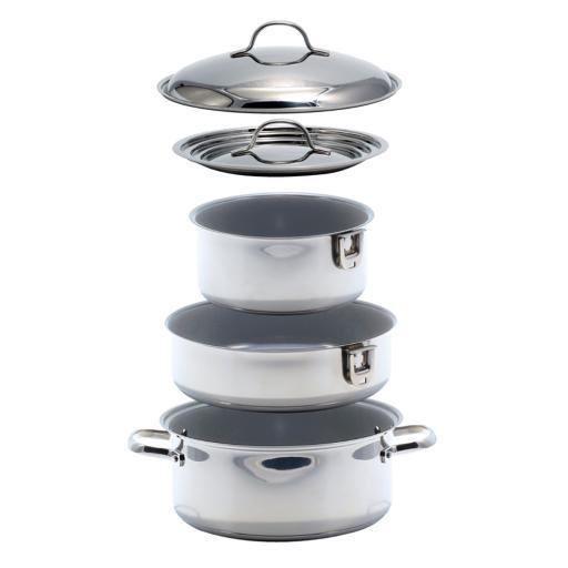 Kuuma 7-Piece Ceramic Nesting Cookware Set Stainless Steel