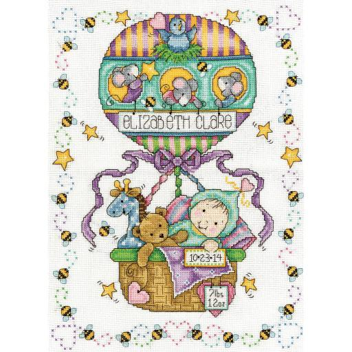 "Balloon Ride Birth Record Counted Cross Stitch Kit-11""X14"" 14 Count ENYFV83E3YS9XVB3"