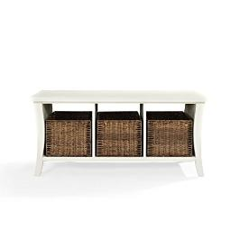 Crosley Wallis Entryway Storage Bench in White