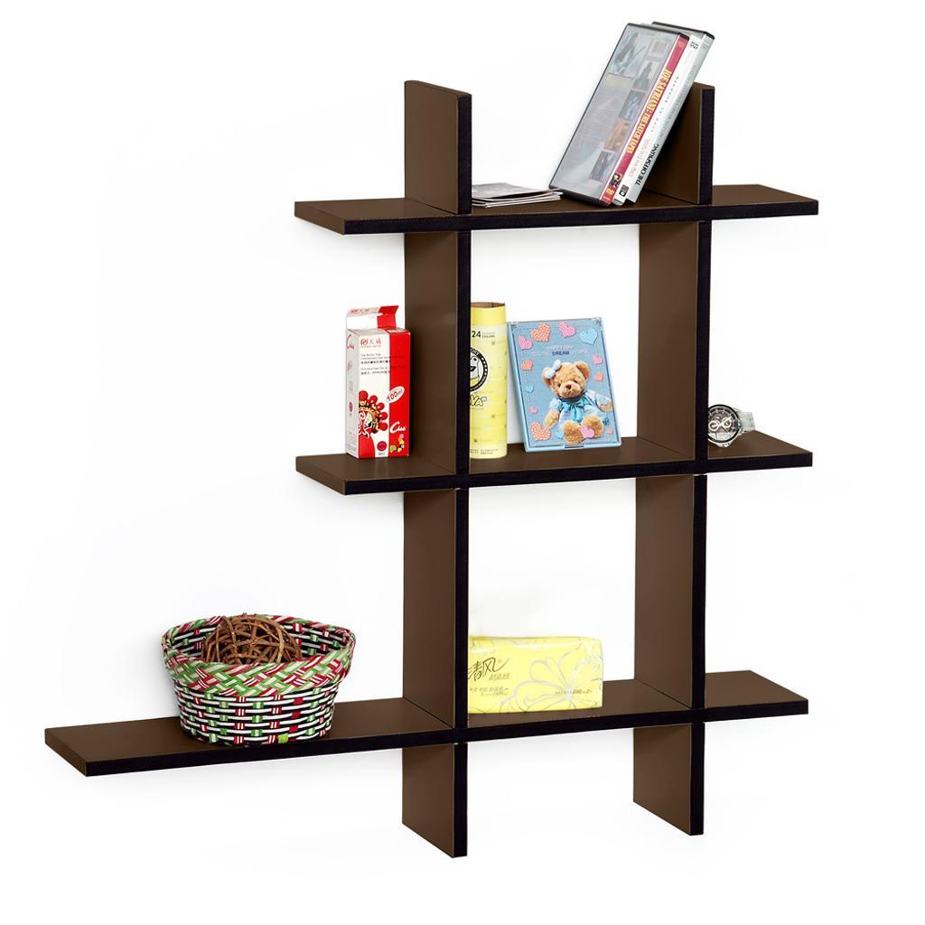 Light Coffee-A Leather Cross Type Shelf / Bookshelf / Floating Shelf (5 pcs)