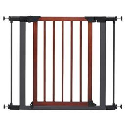 Midwest Homes 568824 29 x 38 in. Steel Pet Gate with Textured Graphite Frame & Decorative Wood Door - Graphite & Wood
