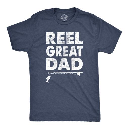 Mens Reel Great Dad Tshirt Funny Fathers Day Fishing Tee