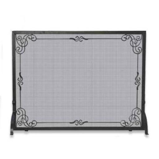 Single Panel Wrought Iron Screen In Black with Decorative Scroll