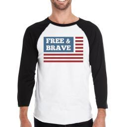 Free & Brave Us Flag Mens Black Raglan Tee Shirt Cotton Crewneck