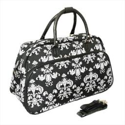 All-Seasons 812014-630 21 in. Damask Carry-On Shoulder Tote Duffel Bag, Black & White