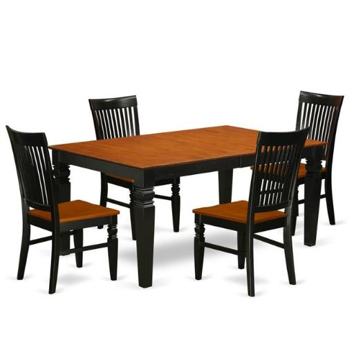 East West Furniture LGWE5-BCH-W Kitchen Table Set with a Dining Table & 4 Wood Seat Dining Chairs, 5 piece - Black & Cherry