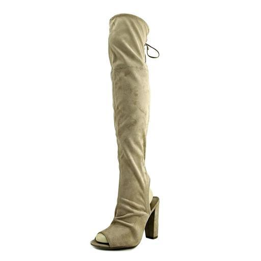 Guess Galle Women Peep-Toe Canvas Nude Over the Knee Boot 0UPZEMOAOYQLCQ83