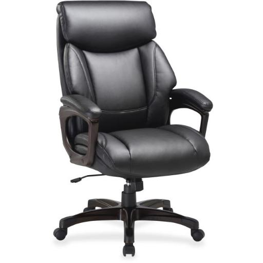 Lorell LLR59496 45.5 x 31.8 x 28 in. Executive Chair Bonded Leather Black Seat - Black & Espresso