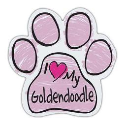 "Pink I Love My Goldendoodle Scribble Paw Magnet Dog Cat 5.5"" x 5.5"" Shaped Puppy"