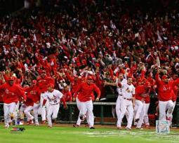 The St. Louis Cardinals Celebrate Winning Game 6 of the 2011 MLB World Series Photo Print PFSAAOF11101