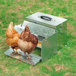 12L Automatic Chicken Feeder Portable with Lock Mesh Fence Rat Proof Weatherproof Aluminum Trough Poultry Farm Tank