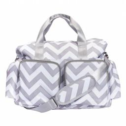 Trend Lab 2 101850 Chevron Deluxe Duffle Diaper Bag, Gray and White