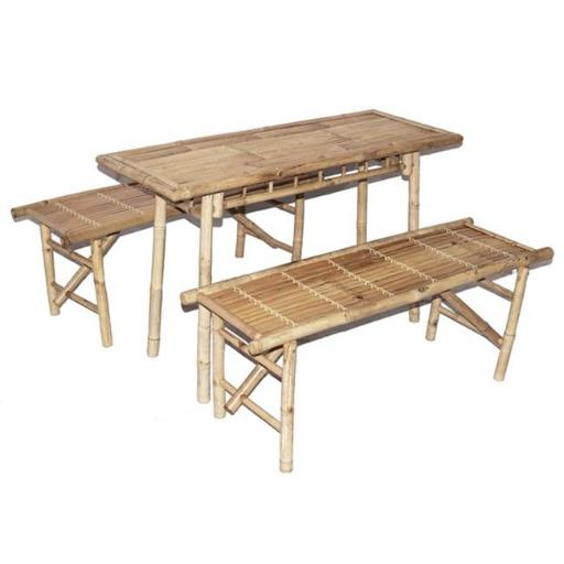 Bamboo54 BS1004 Picnic Folding Benches & Small Table Set, 3 Piece