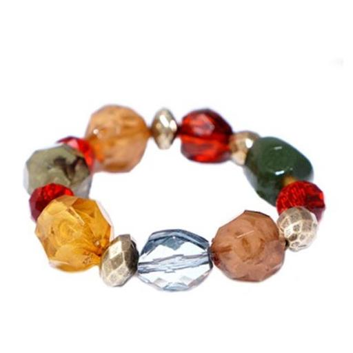 Gold Multicolor Red And Brown Beads Mixed Stretch Bracelet