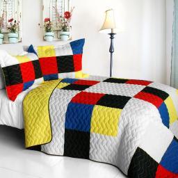 Smashing Patchword - A 3PC Cotton Vermicelli-Quilted Patchwork Quilt Set-Full/Queen Size