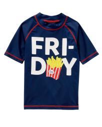 Carter's Little Boys' Fri-Day Rashguard, Navy, 4/5 Kids