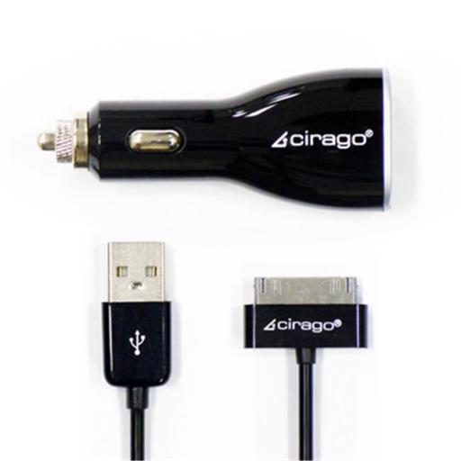 CIRAGO IPA3510 Cable, Dual USB Car Charger, with Sync Cable, Black Dual USB charging ports - 2.1A and 1.0A