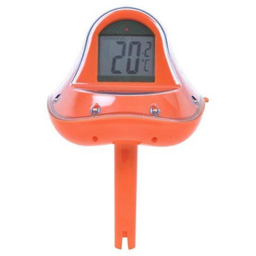 Wireless Digital Floating Swimming Pool Thermometer with Receiver Station, Orange