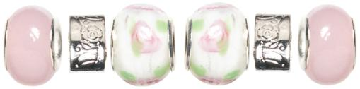 Trinkettes Glass, Metal & Clay Beads 6/Pkg-Pink & White Roses PUWDCYRJUCIEF8PP