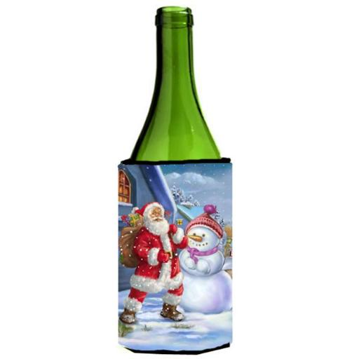 Carolines Treasures APH6200LITERK Christmas Santa Claus & Snowman Wine Bottle Can cooler Hugger
