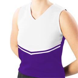 Pizzazz Performance Wear UT45 -PURWHT-AS UT45 Adult V-Stripe Uniform Shell - Purple with White - Adult Small