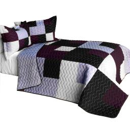 Rely On Me 3PC Vermicelli - Quilted Patchwork Quilt Set (Full/Queen Size)