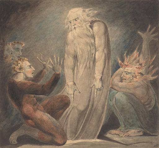 The Ghost Of Samuel Appearing To Saul, By William Blake, 1800, British Painting, Drawing, Pen And Ink With Watercolor Over Graphite. Scene From.