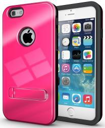 HOT PINK SLIM TOUGH SHIELD GLOSSY ARMOR HYBRID CASE COVER SKIN FOR iPHONE 6 4.7