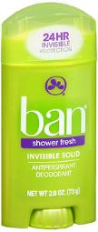 Ban Shower Fresh, Invisible Solid Deodorant - 2.6 Oz, Pack Of 4