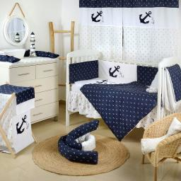 Navy Anchor Patch NauticalCrib Bedding Set (4PC Bedding Set + 1 set Curtain)