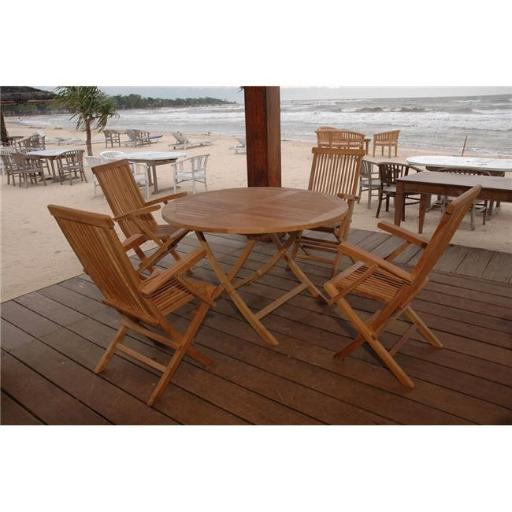 Anderson Teak Set-28 47 in. Bahama Round Folding Table