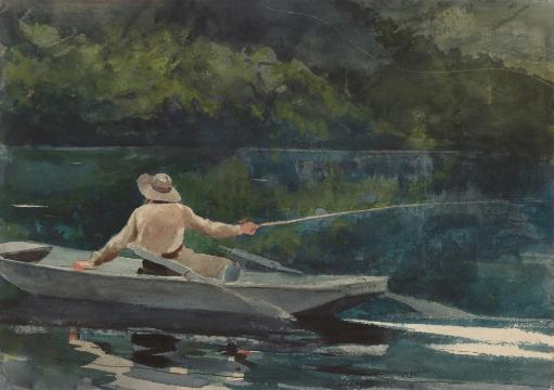 Casting, Number Two, By Winslow Homer, 1894, American Painting, Watercolor On Paper. Homer'S Serene Scene Is Still Except For The Whipped Fishing.