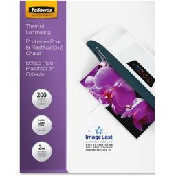 Fellowes, inc. 5244101 glossy pouches-imagelast, letter, 3mil, 200 pack