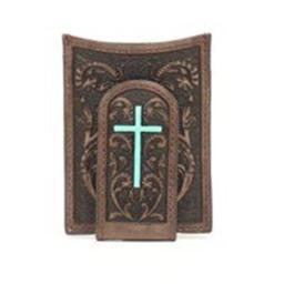Ariat A3527202 Painted Cross Money Clip, Medium Brown - One Size