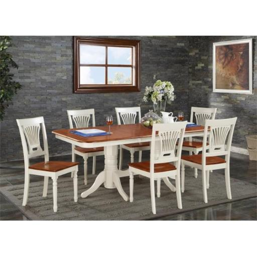 East West Furniture NAPL7-WHI-W 7 Piece Dining Set-Dining Table and 6 Dining Chairs For Dining