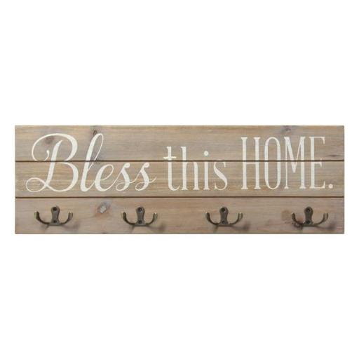 Stratton Home Decor S11578 Bless this Home Wood Hooks