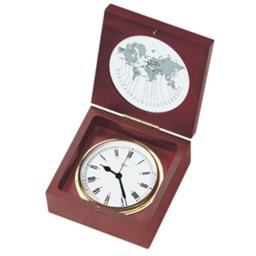 Barigo 1220ms 4 In. Dial Quartz Ship Clock In A Box, Brass & Mahogany