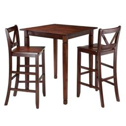 Winsome 94378 38.9 x 33.86 x 33.86 in. Kingsgate Dining Table with 2 Bar V-Back Chairs, Walnut - 3 Piece