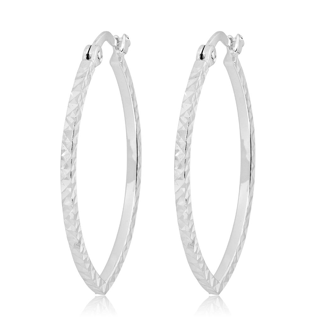 14K White Gold Diamond-Cut Leaf Hoop Earrings