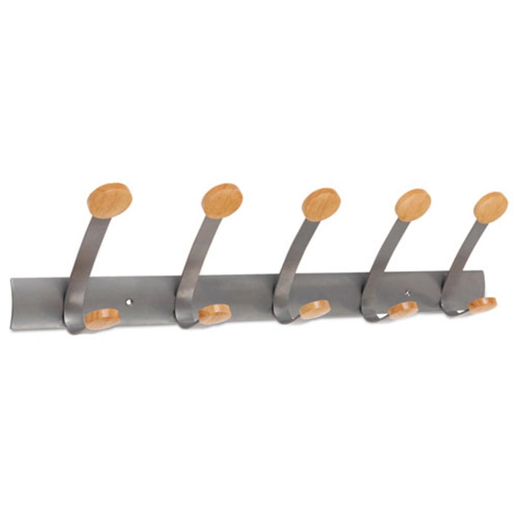 Wooden Coat Hook Five Wood Peg Wall Rack Brown/Silver | Total Quantity: 1
