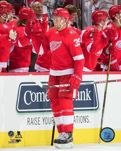 Anthony Mantha scores the first NHL goal at the new Little Caesars Arena- October 5, 2017 Photo Print