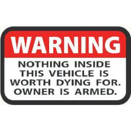Outdoor decals od6123wh outdoor decals warning owner is armed 2x3 4 per pack