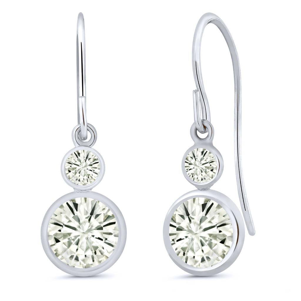 14K White Gold Dangle Earrings Forever Classic Round 1.80ct (DEW) Created Moissanite by Charles & Colvard