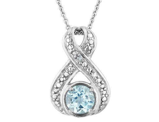 Blue Topaz Infinity Pendant Necklace with Diamond Accent 3/4 Carat (ctw) in Sterling Silver with Chain